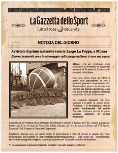 Gazzetta Meteoriti 232x300 Gazzetta dello Sport Coinvolge gli utenti. Meteoriti Rosa nelle Piazze Italiane