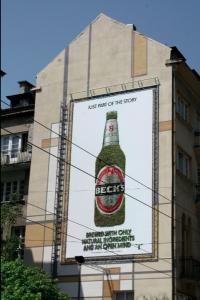 Cartellone pubblicitario di Beck's con muschio