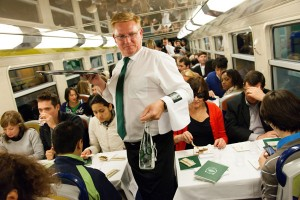 cena di lusso sul treno