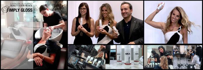 Alcuni momenti della giornata Beauty Experience Simply Gloss, Tania Cagnotto, il sig. Eduard Nika ed il direttore della comunicazione Nika