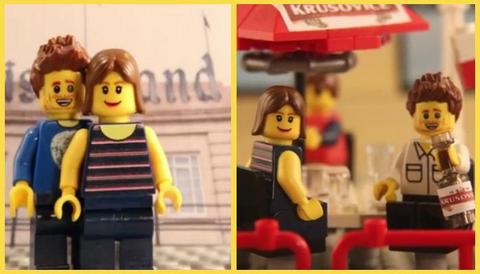 2 immagini degli alter-ego Lego di di Ben e Kirsten in vacanza a Disneylan e in Polonia