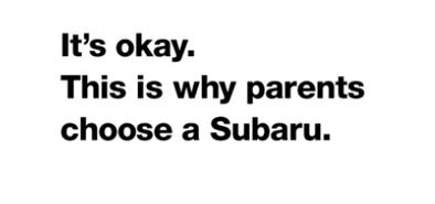 Testo. La mia sicurezza è fondamentale. Ecco perchè i miei genitori hanno scelto per me una Subaru.