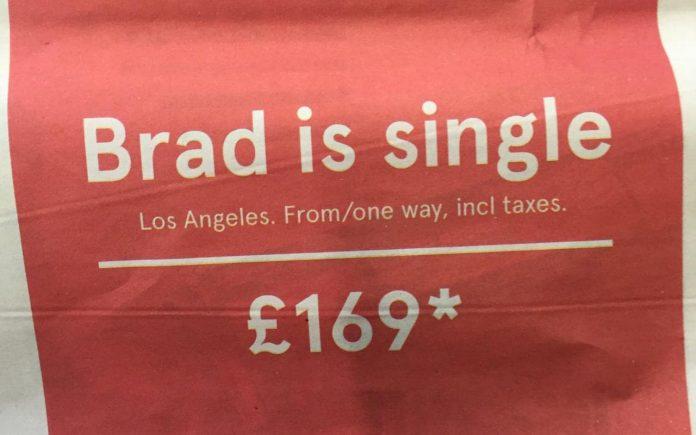 Brad Pitt is Single-il messaggio della Norwegian Airlines