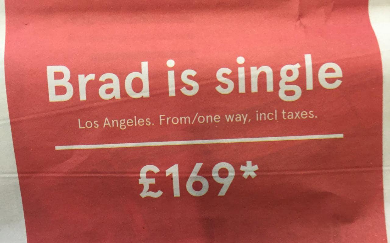 """""""Brad Pitt is single""""! La geniale campagna pubblicitaria di Norwegian Airlines"""