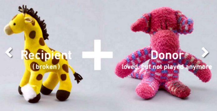 Donazione di Organi: immagine del peluche Giraffa con zampa rotta e del peluche Orso che si offre donatore