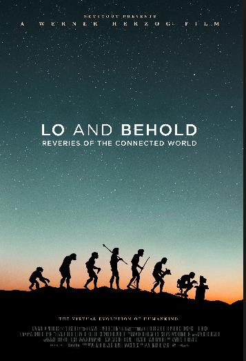 Lo and Behold: locandina del film con immagini dell'evoluzione dell'uomo da scimmia a uomo seduto di fronte al computer