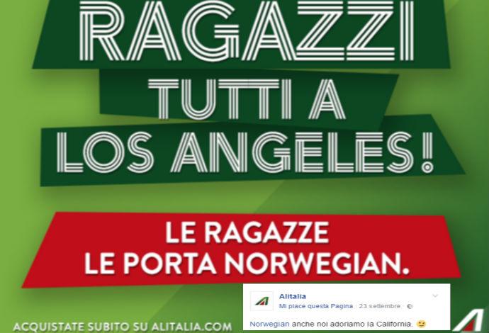 """Brad Pitt is single: Alitalia si complimenta con la Norwegian Airlines dalle pagine facebbok con un ironico """"meme"""" che dic """"le ragazze le porta Norwegian a Los Angeles"""""""